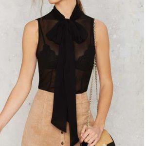 Black pussybow tie blouse